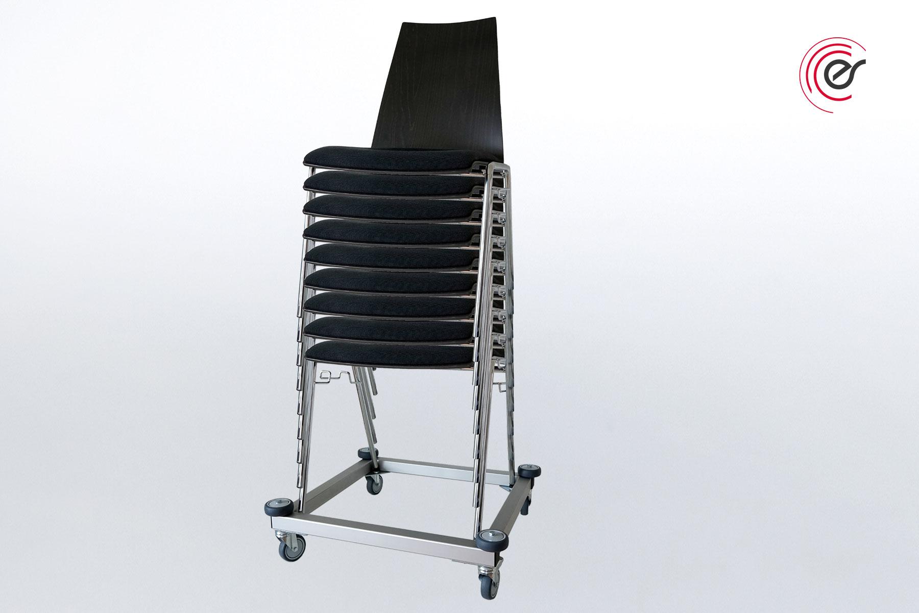 ErgoSus Stack Stuhltransportwagen mit Stuhlstapel